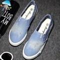 2016 Primavera Alpargatas De Cuña zapatos de Tacón de Plataforma de La Moda de Ocio Zapatos de Lona de Color Sólido Estudiantes Holgazanes Casuales Zapatos de Las Mujeres