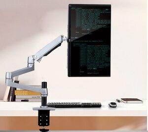 Image 2 - Porta monitor lcd de alta qualidade, suporte para monitor de lcd, braço ultrafino de liga de alumínio, suporte de montagem com presilha de mesa, monitoramento de movimento completo