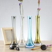 Small fresh transparent glass vase  flower vase small Lily simple desktop trumpet
