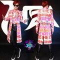 Casaco longo macho DJ traje DS rosa camisa Rocha Lantejoula prom casaco longo bar DJ stage outfit moda cantor dancer partido da estrela casuais