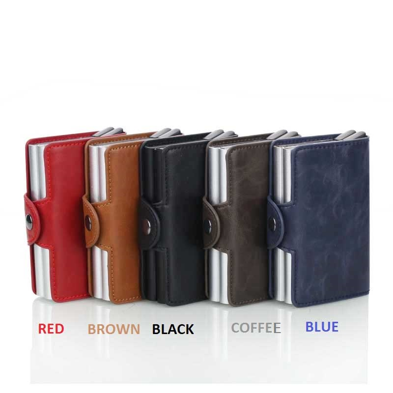 2019 New Men Business Credit Card Holder Crazy Horse PU Leather Card Holder Metal RFID Double Aluminium Box Travel Card Wallet in Card ID Holders from Luggage Bags