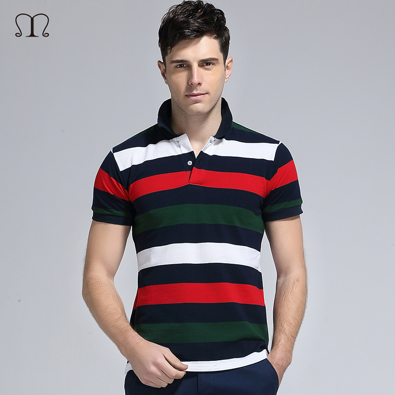 2017 100% Cotton Tops&Tees Mens Striped Polo Shirts Fashion Style Summer Striped Trending Brand Short Sleeve Polo Shirt Men Top