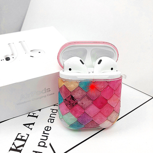 Image 3 - Funda protectora de silicona decorativa con diseño de concha de pez de mármol bonito para Apple Airpods1/2, funda de auriculares Bluetooth anticaída