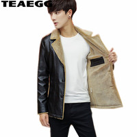 TEAEGG Business Casual Pu Men Leather Jackets And Coats Black Fuax Leather Coat Men Jacket Leather Winter Parka Outwear AL1465