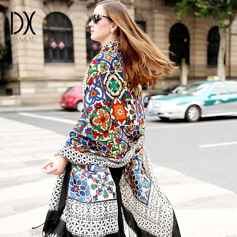 DANA XU New 100% Wool Bufanda Mujer Head Scarves Women Elegant Pashmina Warm Shawl Bandana Scarf Hijab Foulard Femme Poncho