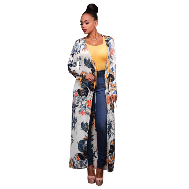 2aadb55cc11 US $16.13 38% OFF|Fashion Women Kimono Blouse Long Sleeve Ethnic Floral  Print Maxi Cardigan Shirt Ladies Summer Shirts Tunic Beach Cover Up  White-in ...