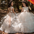 New Arrivals Bloem Meisjes Kant Applicaties Cap Sleeve Baljurken Kralen Floor Lengte Pageant Eerste Communie Jurken Wedding Gown