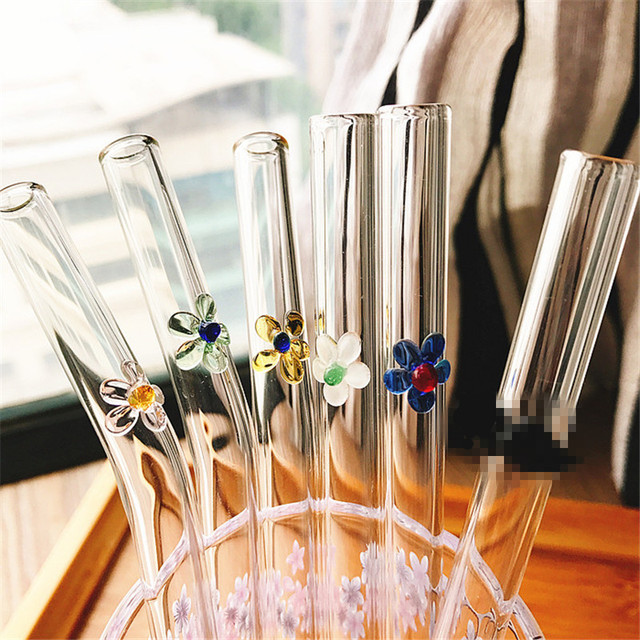 Reusable Class Drinking Straw with Brush 5 Pcs Set