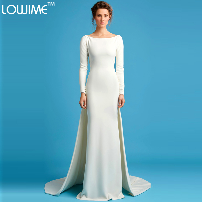 aa0cc6935 Backless Evening Dresses Full Sleeve Formal Lady Dress Fashion Simple Long A-Line  White Satin O-Neck Party Gowns Sweep Train