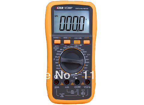 Digital Multimeter/Victor/VC980+ 3/4 Auto Range Temperature Test Streamline Design & Large LCD Display digital multimeter victor vc 6056d3 4 auto range temperature test streamline design