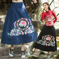 Plus Size Women Clothing 2016 Female Autumn Spring Mexico Style Ethnic Long Black Blue Embroidery Maxi