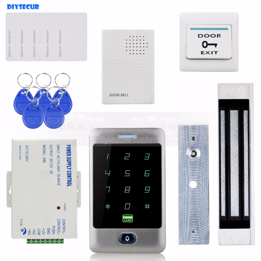 DIYSECUR 125KHz RFID Reader Password Keypad + 180kg 350lb Magnetic Lock + Door Bell Door Access Control Security System Kit diysecur touch button rfid 125khz metal keypad door access control security system kit magnetic lock for home office use