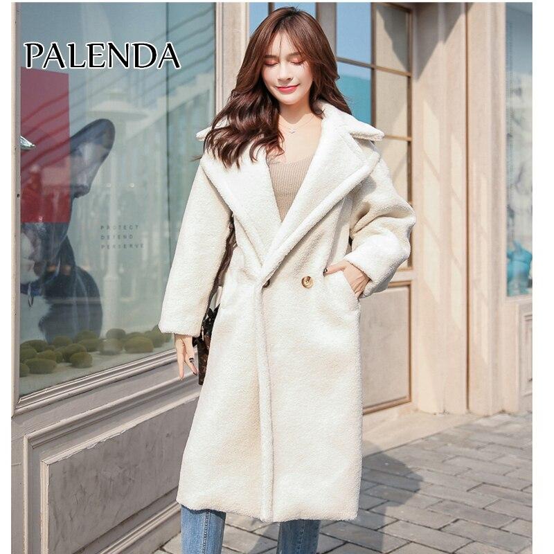2019 nouveau teddy manteau femmes en fausse fourrure bière moelleux femelle rue style long manteau blanc couleur avec poche design de mode épais chaud