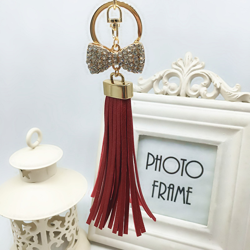 Felyskep New Leather Tassel Keychain Crystal Bowknot Keyring Bag Charm For Keys For Women Acessory A583WA