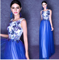 In stock size 2--4-6-8-10-12-14-16 blue embroidery long celebrity dresses printed flowers red carpet dresses