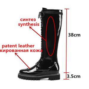 Image 2 - MORAZORA 2020 hot sale genuine leather platform shoes women Motorcycle Boots zip lace up autumn winter knee high  boots female