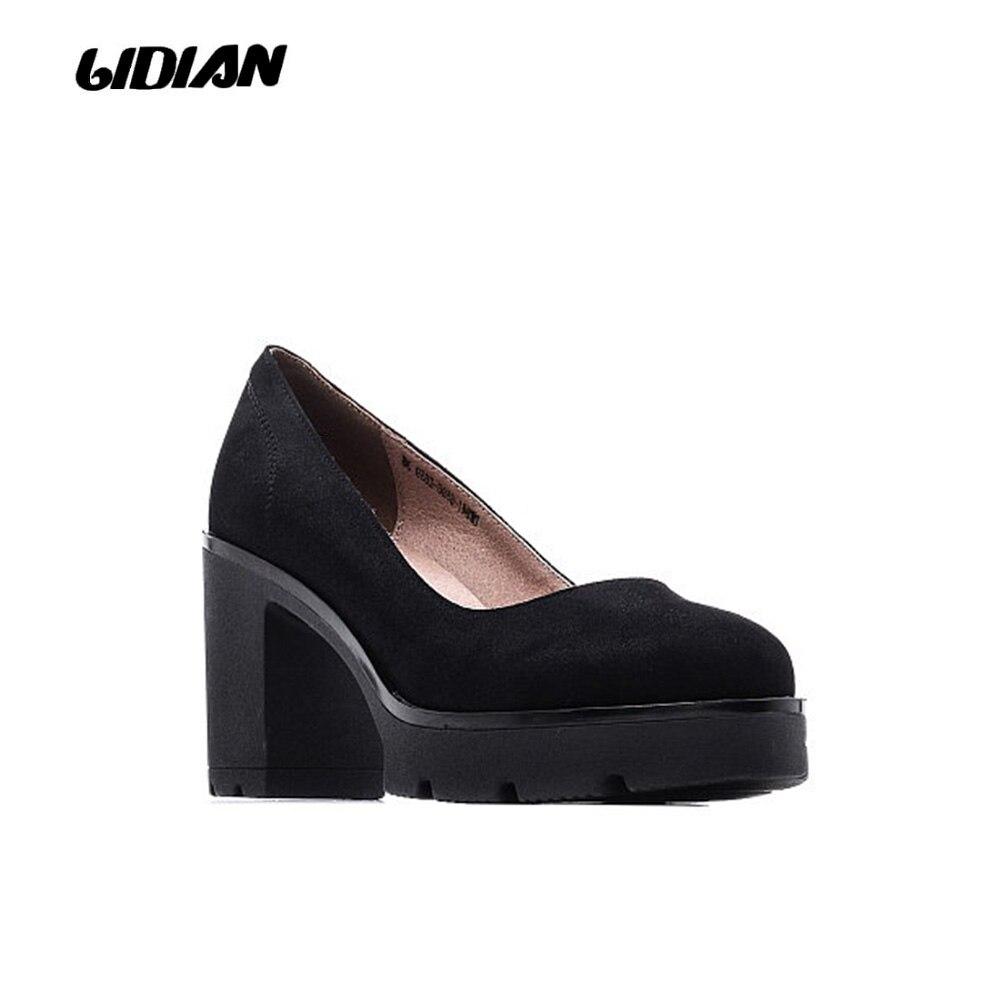 Zapatos Black Plataforma Tacones Antideslizante Alta Gamuza Geninuine Color  Chico Lidian Cuero Med D6 En brown De Bombas Sólido Mujer Dentro Calidad ... 723f49ce8b1a
