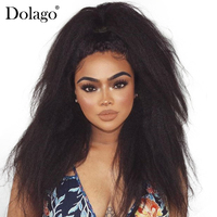 Kinky Straight 13x6 Lace Front Human Hair Wigs For Women 150% Density Pre Plucked With Baby Hair Deep Part Dolago Black Remy