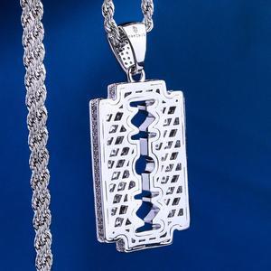 Image 5 - Подвеска с лезвием для бритвы DNSCHIC, ожерелье из белого золота с двойной окантовкой в стиле хип хоп, ювелирные изделия для мужчин и женщин