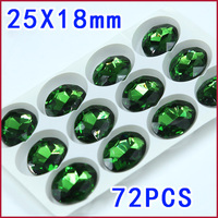 Free Shipping 25 18mm 72pcs Light Green Color Pointback Rhinestone Oval Sew On Glass Crystal Stones