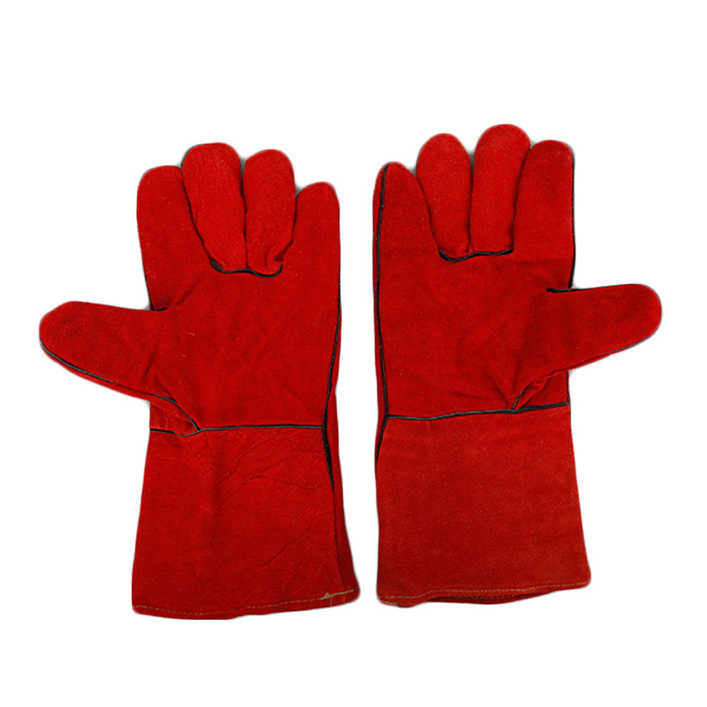 Welding Gloves Wear/heat-resistant Anti-stabbed Anti-heat Thicker Extension Of The Two Layers Of Pure Leather 2 Colors Glv0059
