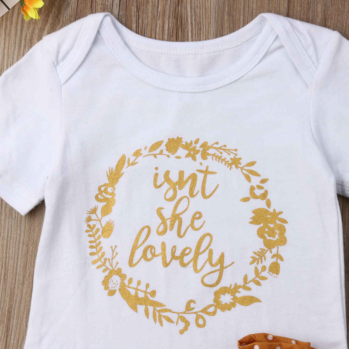 3 Pcs Neugeborenen Baby Mädchen Outfit Kleidung Tops Overall Bodysuit + Hosen Set