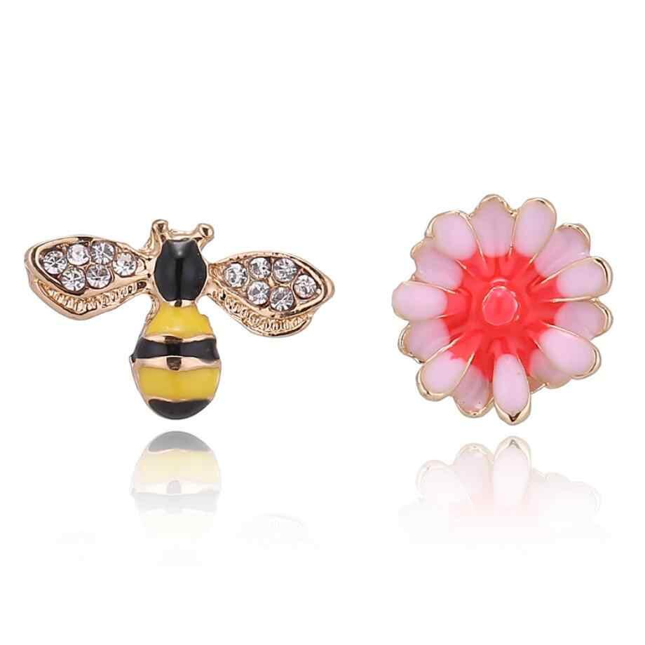 Không đối xứng Hoa Màu Vàng Bee Bông Tai cho Phụ Nữ Rhinestone Druzy Studs Đồ Trang Sức Tai Nhỏ Dễ Thương Động Vật Earing Bijoux Femme Hot