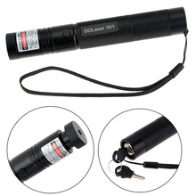 Cheaper 5MW Green Laser 301 Pointer Pen Flashlight Adjustable Focus Burning Match Set with Safe Key Lock Battery Power Adapter