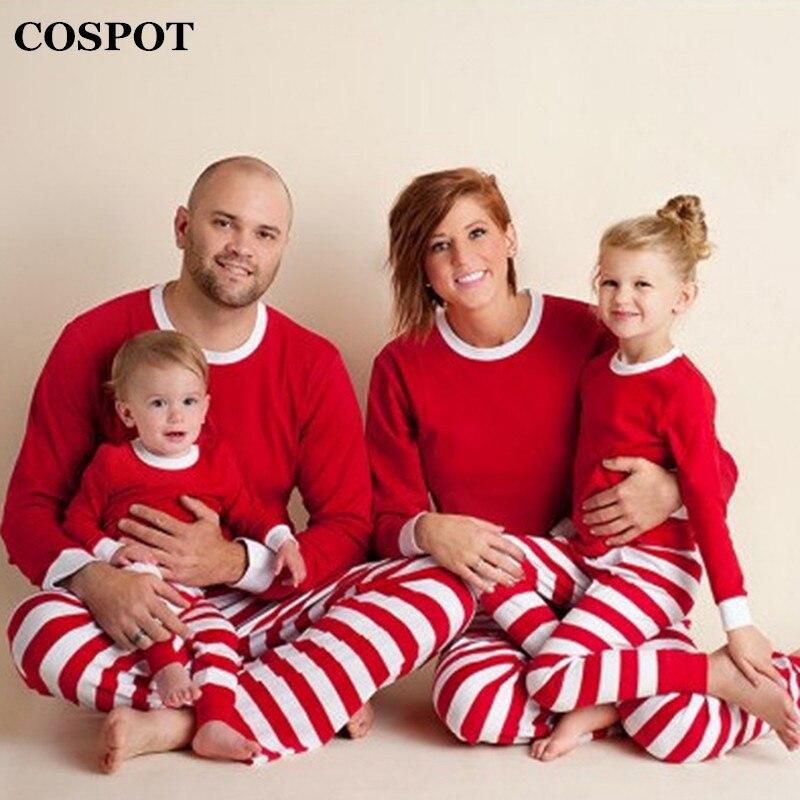 Conjunto de pijamas de Navidad COSPOT familia padre madre niños rayas pijamas de Navidad conjunto unids de 2 piezas de ropa para bebés pijamas familiares 2018 nuevo 30F