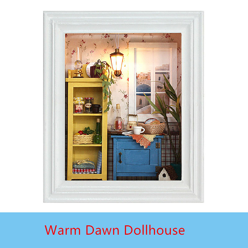New Arrival Miniature DIY DOLLHOUSE Photo Frame Warm Dawn Wooden Furniture  Assembling Building Relax Puzzle Toys for Children 1