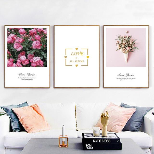 HAOCHU Scandinave Rose Rose Fleur Amour Citation Imprimer Art Affiche Toile  Peinture Minimaliste Maison Salon Chambre