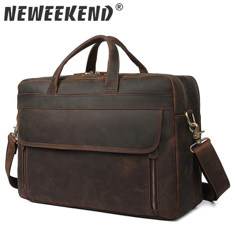 Messenger Bag Men's Genuine Leather Men Shoulder Bag Male Briefcases 17 Inch Laptop Crossbody Bags for Men Handbags 7391R lacus jerry genuine cowhide leather men bag crossbody bags men s travel shoulder messenger bag tote laptop briefcases handbags