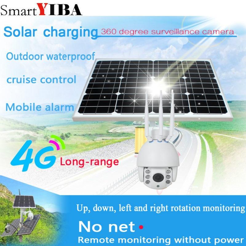 SmartYIBA 1080 P énergie solaire alimenté par batterie WiFi réseau IP caméra 4G SIM IP caméra Vision nocturne sans fil sécurité extérieure