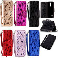 Fashion PU Leather Case For Fundas LG K8 2017 LV3 Cover Phone Bags Laser Carving Butterfly