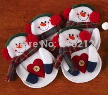 Christmas &Santa Kitchen Cutlery Suit Holders Porckets Knifes and Folks Bag Snowman Shaped