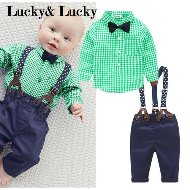 Green plaid shirt+ casual overall baby clothes 2pcs/set baby clothing set newborn clothes