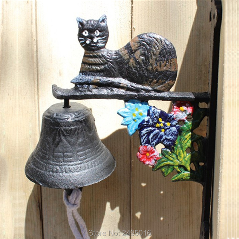 Outdoor Cast Iron Large Wall Mounted Door Bell with Cat Decor Garden Wall Mounted Door Bell New Free Shipping