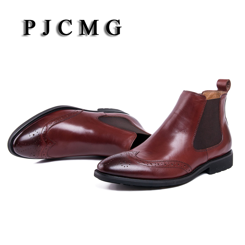 New Arivel Fashion Boots Genuine Leather Elastic Band Pointed Toe Business Casual Wedding Ankle Male Foot Wedding Boots new fashion men boots motorcycle handmade wing genuine leather business wedding boots casual british style wine red boots 8111