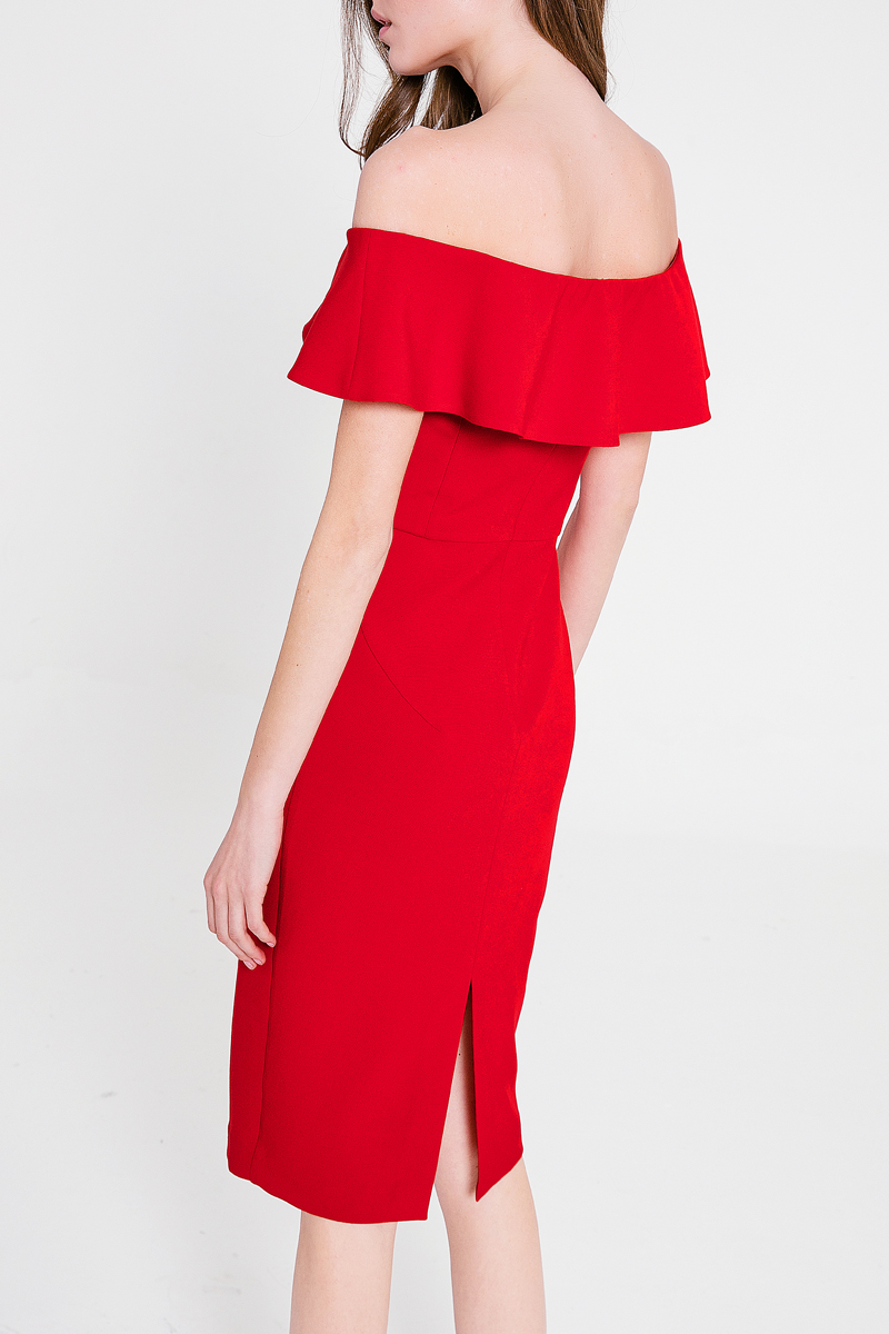 spring  summer new type off-the-shoulder sexy hip skirt middle-long thin red shoulder dress Contracted falbala collar design