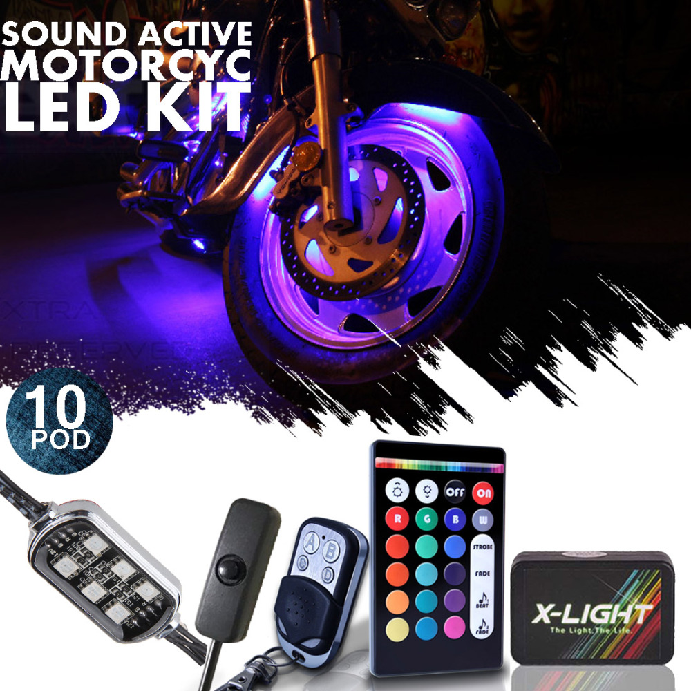10pc X-LIGHT 3-into-1 Motorcycle LED Light Pod Body Kit  18 Full-Color Accent w/Switch for Street-Sport  Music Active  Brake