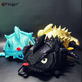 Lindo 3D Camaleón Mochila para niños Sólido PU Satchel Bolsos Mochila Bolsa Mochila Bolsa de La Escuela En Forma de Tiburón Monstruo Feminino X585