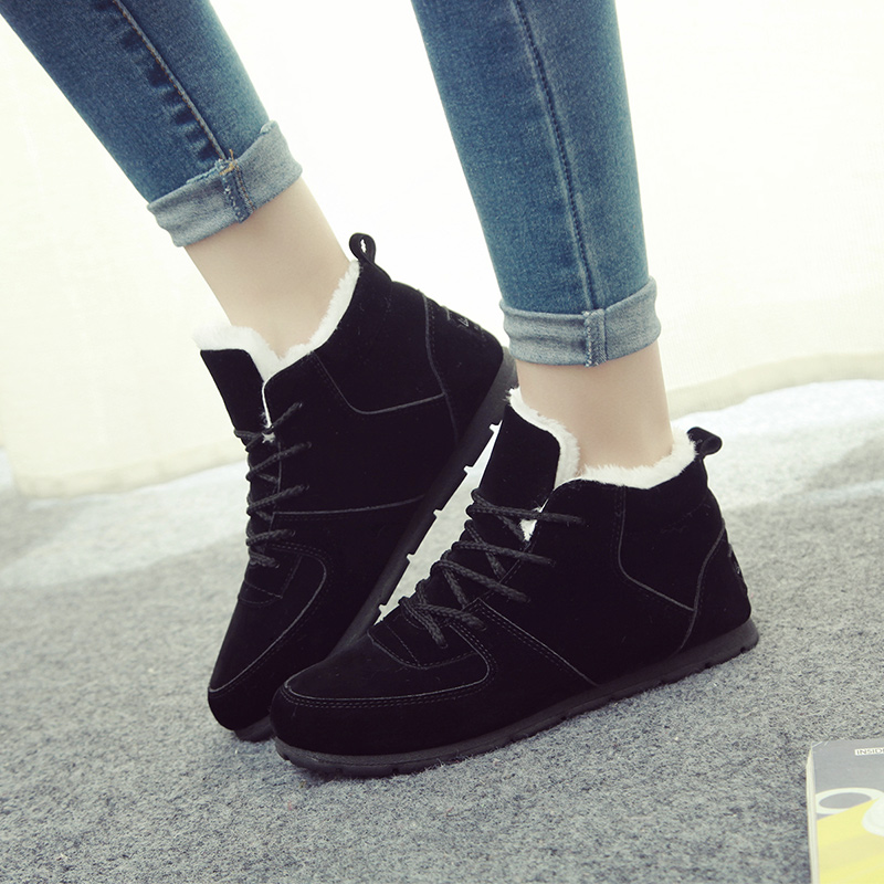 hot sale 2017 new autumn winter sport shoes women flat pu leather running shoes female Warm cotton shoes female zapatos mujer