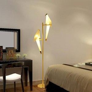 Image 3 - מודרני נייר מנוף מתכת בציר נברשת תליית אור מסעדת סלון אוכל חדר ילדים LED ציפור עיצוב תליון מנורה