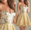 Gold 2017 Homecoming Dresses A-line Sweetheart Organza Sequins Sparkle Backless Short Mini Cocktail Dresses