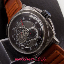 цена Brushed 44mm Parnis black dial sapphire glass leather strap miyota automatic movement Men's Watch  онлайн в 2017 году