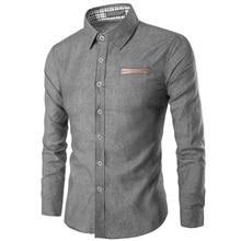 ZOGAA Spring Explosion Men's Casual Long Sleeve Shirt Pocket Patchwork Slim Denim Cotton Shirt Turn-down Collar Business Shirt long sleeve pocket printed denim shirt