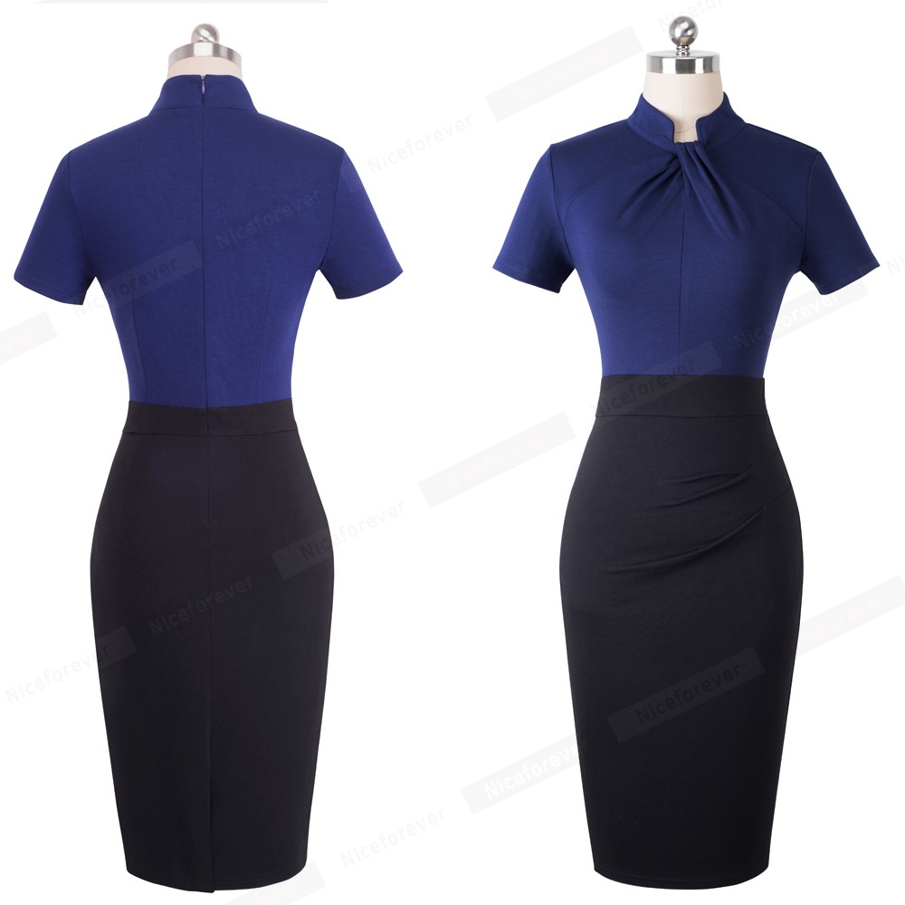 Nice-forever Vintage Contrast Color Patchwork Wear to Work Knot vestidos Bodycon Office Business Sheath Women Dress B430 36