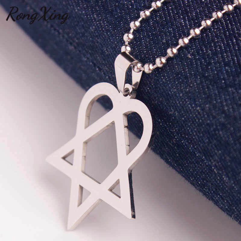 RongXing Chic Triangle Heart Star Pendants Silver Beads Chain Heartagram Necklaces For Women Men Stainless Steel Choker Jewelry