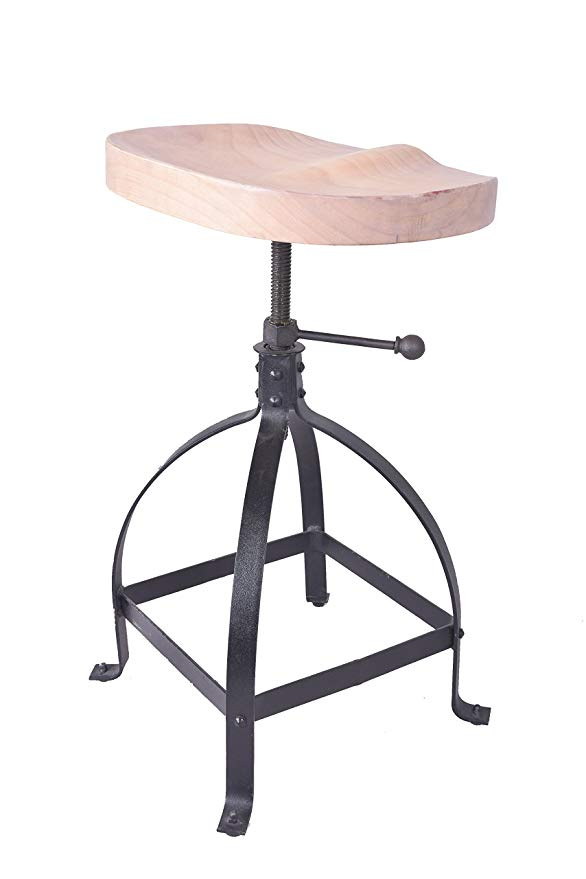 Industrial Furniture Countryside Saddle Coffee Chair Rotating Wood Seat & Metal Base Bar Stool Height Adjustable Bar Chair solid hard wood bar stool chair saddle seat indoor home bar furniture modern cafe wooden tall height bar stool designer 30 inch