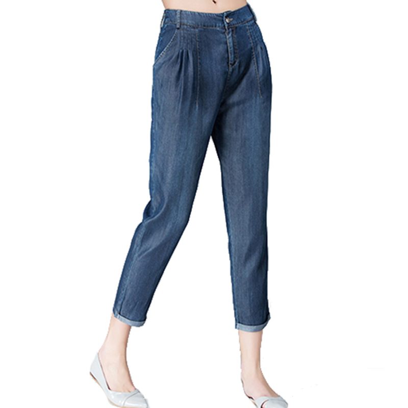 Woman Spring Plus Size Solid High Ankle-length 100% Tencel Pencil   Pants   Female Summer Autumn Oversized Thin Elastic Waist   Capris